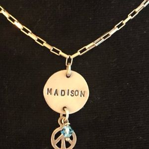 Madison peace sign silver plated necklace